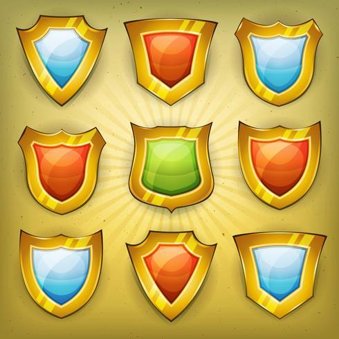Ícones de segurança de escudo para o jogo de interface do usuário vetor