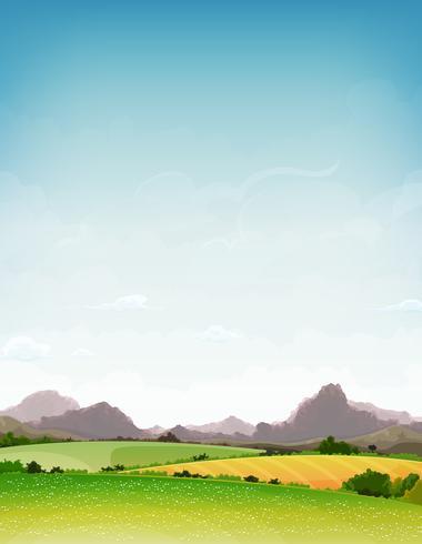 Primavera e verão natureza paisagem vetor