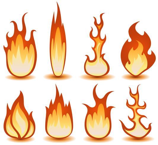 Conjunto de símbolos de fogo e chamas vetor