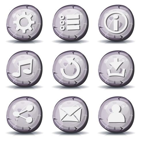 Ícones de pedra e rock para o jogo de interface do usuário vetor