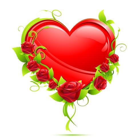 Coração com rosas vetor