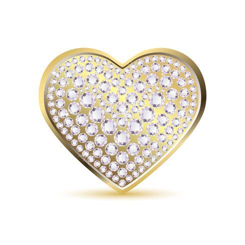Coração com diamante vetor