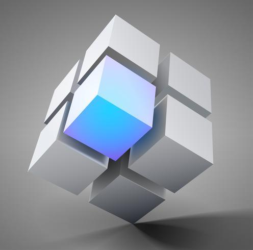 Projeto do cubo 3D vetor