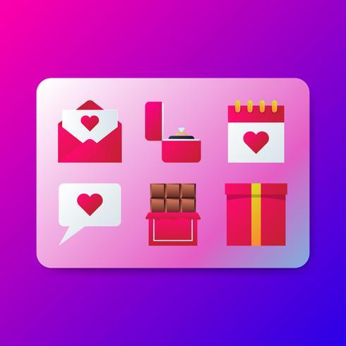 Conjunto de elementos românticos dia dos namorados símbolo vetor