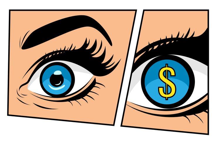 Monitoramento financeiro do homem de negócios do dólar da moeda ou mulher de negócios no estilo retro do pop art cômico do storyboard. Cifrão nos olhos. De fundo vector colorido em quadrinhos retrô pop art