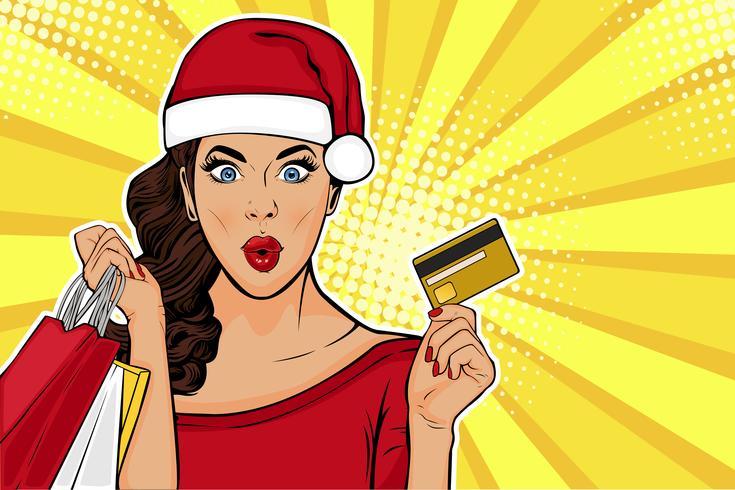 2019 Ano Novo cartão postal de vendas ou cartão. WOW garota sexy com sacos e cartão de crédito. Ilustração vetorial no estilo quadrinhos retrô pop art vetor