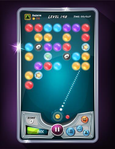 Interface do usuário do jogo de bolhas vetor