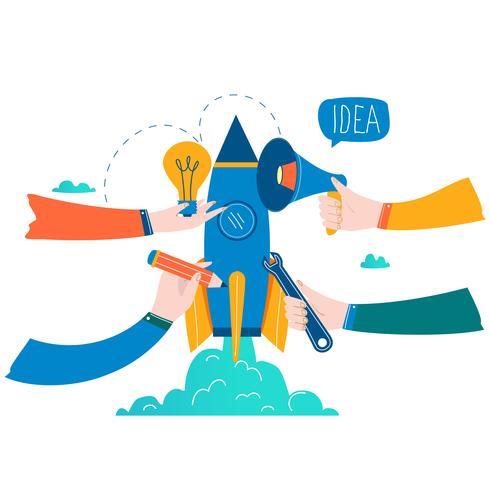 Inicialização lançamento design de ilustração vetorial de negócios plana vetor