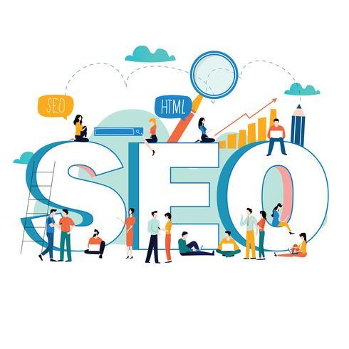 SEO, search engine optimization, pesquisa de palavra-chave, pesquisa de mercado ilustração em vetor plana