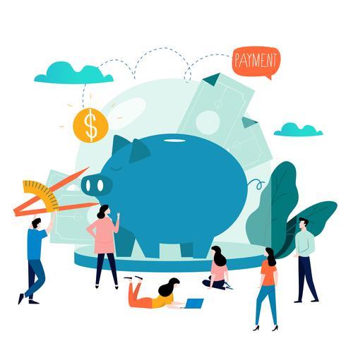 Negócios e serviços financeiros, empréstimo de dinheiro, orçamento planejamento vector plana ilustração design