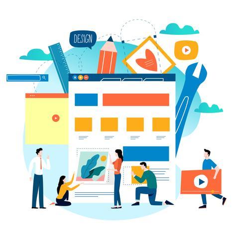 Desenvolvimento de sites, construção de sites, processo de construção de páginas web, layout de site e design de ilustração vetorial plana de desenvolvimento de interface vetor