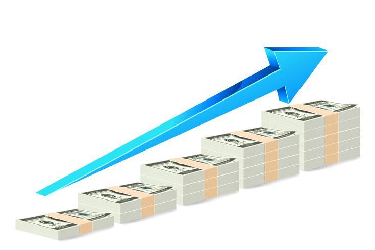 Gráfico de barras de notas de dólar vetor