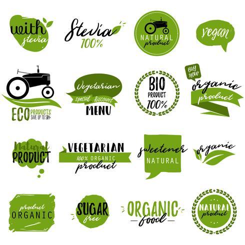 Adesivos e crachás para alimentos e bebidas orgânicas vetor