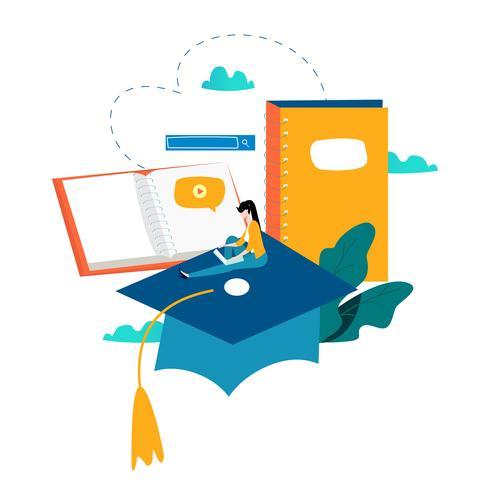 Educação, cursos de treinamento online vetor