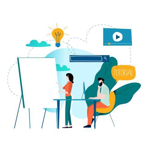Treinamento profissional, educação, tutorial on-line vetor