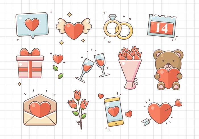 Conjunto de elementos do dia dos namorados vetor