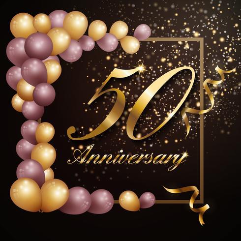 Design de banner de fundo de celebração de aniversário de 50 anos com lu vetor