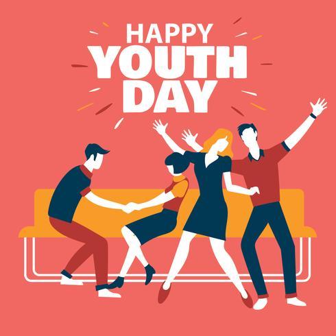 Feliz dia da juventude celebração com menino e menina vetor