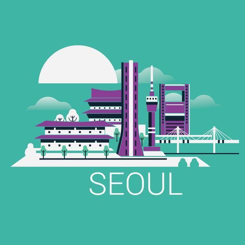 Skyline de cidade moderna de Seul com arranha-céus e monumentos Cityscape de Coreia do Sul vetor