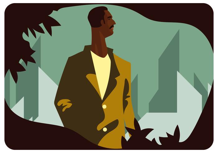 Homem de pele escura em pé vetor
