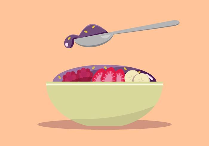 Açaí Berry Banana Bowl vetor