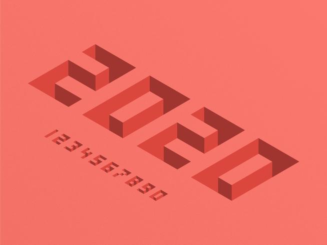 Números 3D isométricos de pixel 2020 vetor
