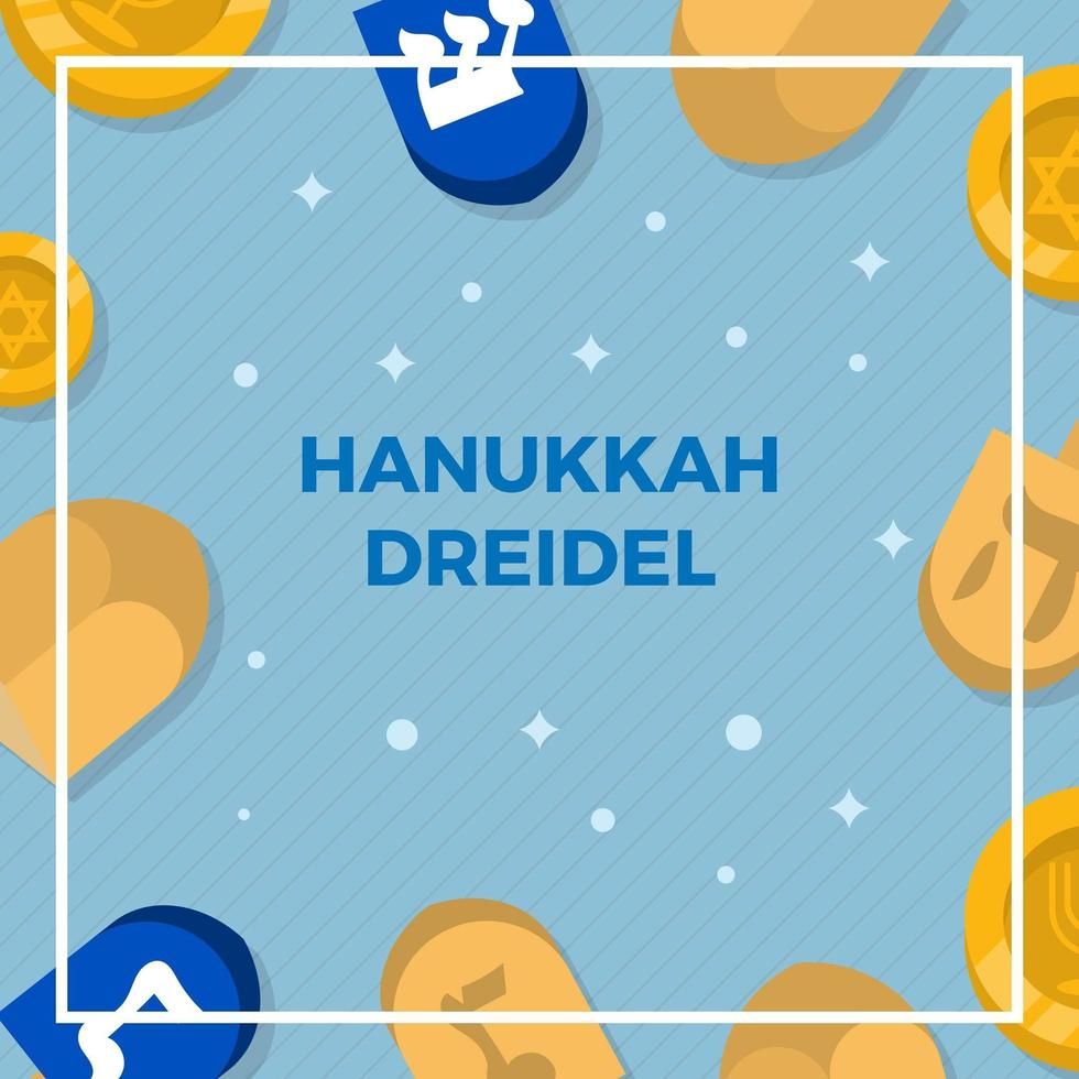 Flat Hanukkah Dreidel Vector Background Illustration