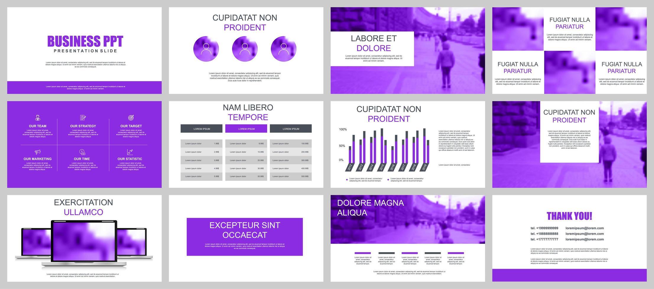 Purple Business Presentation Slide Templates vetor