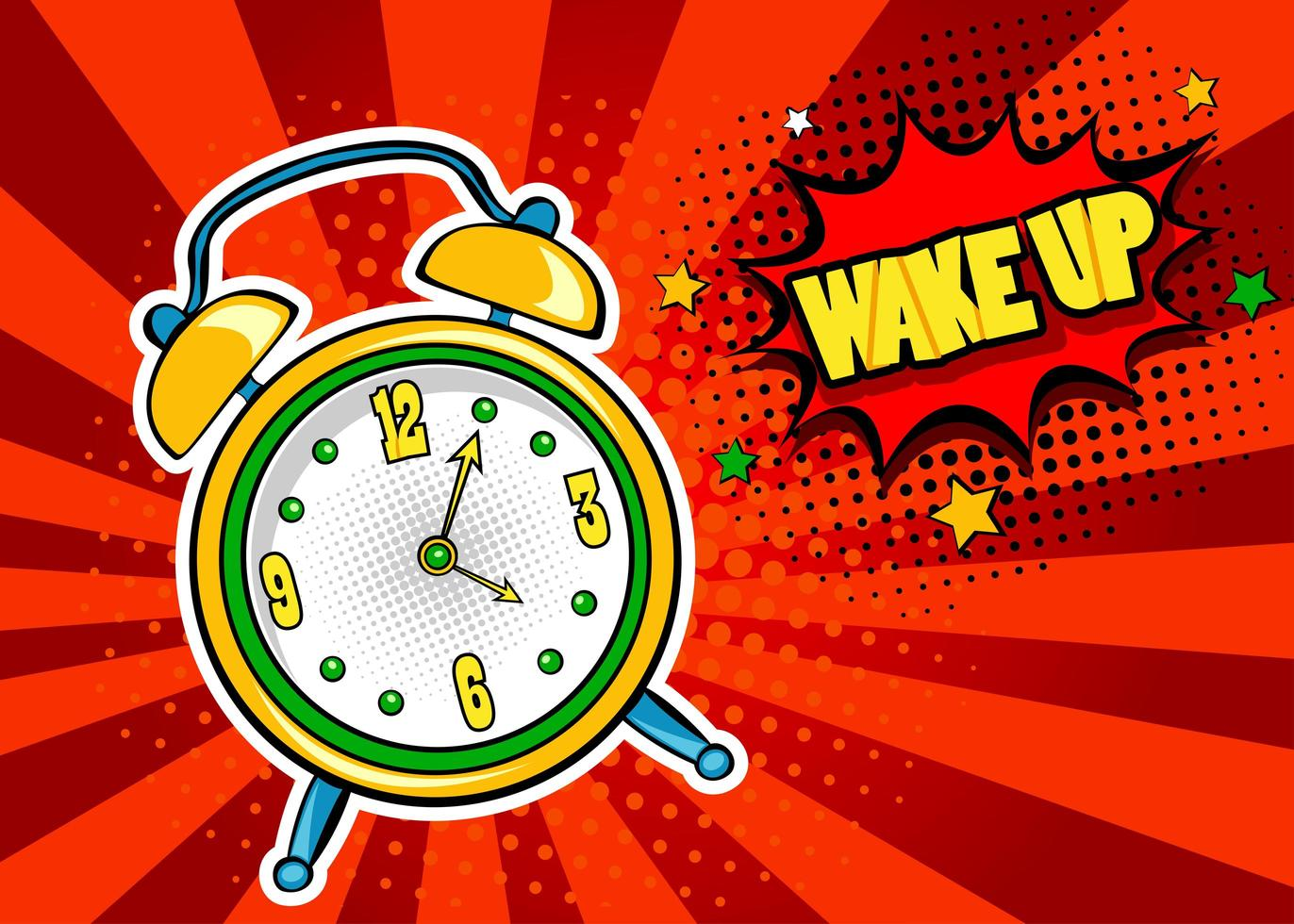 Pop art  background with comic alarm clock ringing vetor