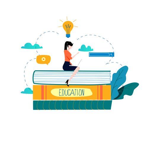 Educação, cursos de formação online, educação a distância ilustração vetorial plana vetor