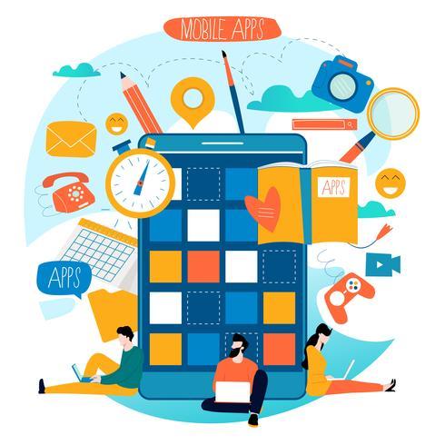 Processo de desenvolvimento de aplicativos móveis vetor
