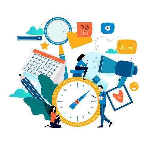 Gerenciamento de tempo, planejamento de eventos, organização vetor