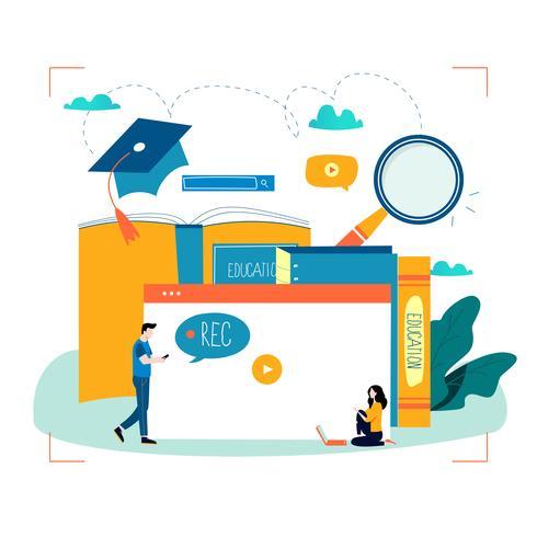 Educação, cursos de formação online, educação a distância vetor
