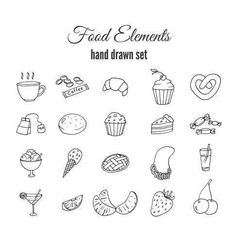 Conjunto de massa doce de mão desenhada vetor