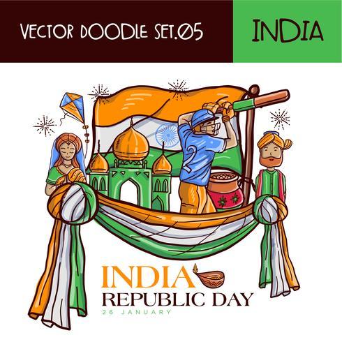 Mão desenhada indiano República dia ilustração vetorial vetor
