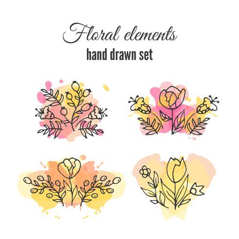 Salpicos coloridos sob o conjunto de flores vetor