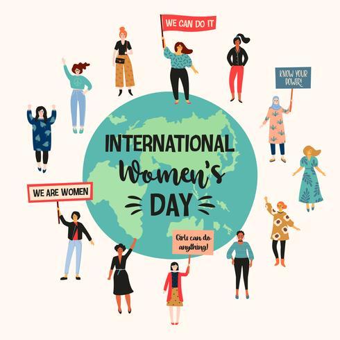 Dia Internacional da Mulher. Vector a ilustração com nacionalidades e culturas diferentes das mulheres.