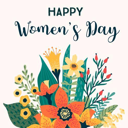Dia Internacional da Mulher. Modelo de vetor com flores.