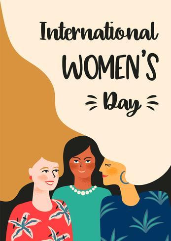 Dia Internacional da Mulher. Modelo de vetor com as mulheres.