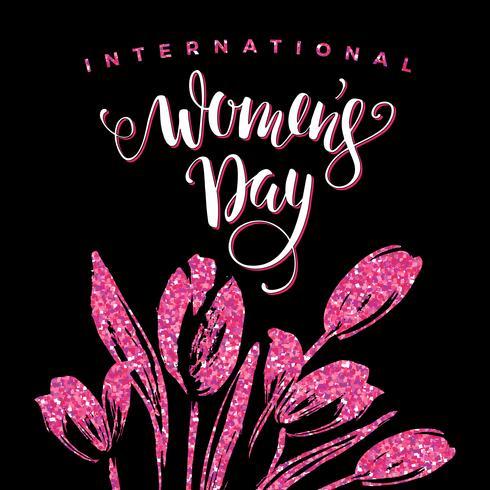 Dia Internacional da Mulher. Lettering design com flores vetor