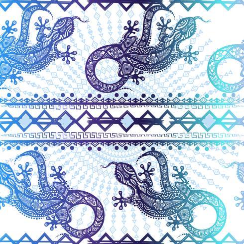 Vector vintage padrão sem costura étnica imagem lagartos e linhas