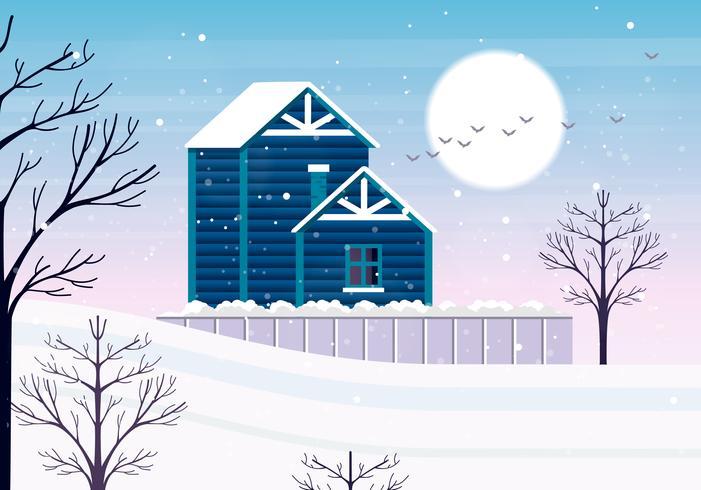 Vetorial, paisagem inverno, ilustração vetor