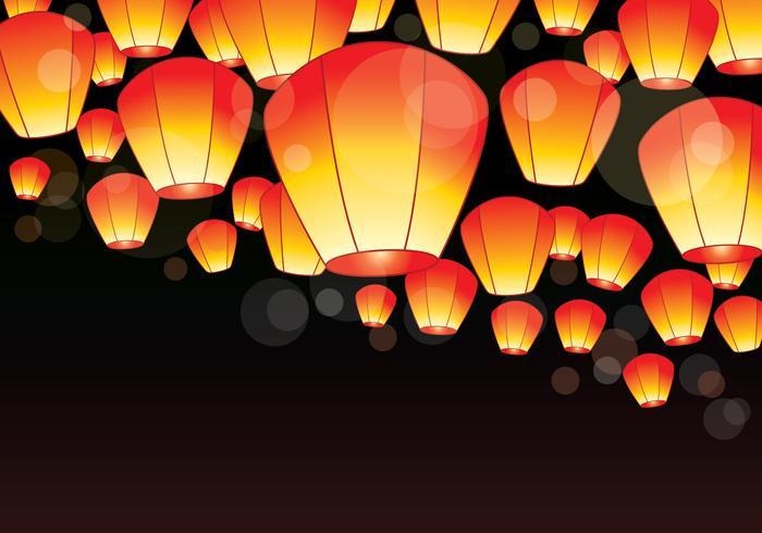 Festival das Lanternas do Céu de Taiwan vetor
