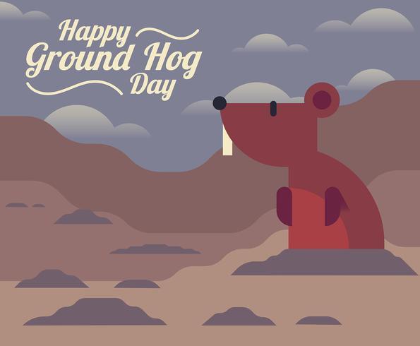 Ilustração do dia Ground Hog vetor