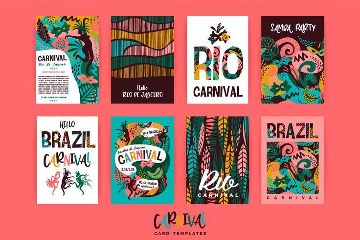 Carnaval do Brasil. Modelos de vetor com elementos abstratos na moda.