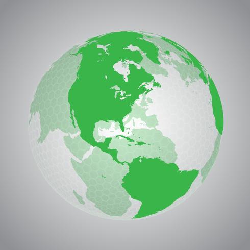 Terra verde com rede hexagonal vetor