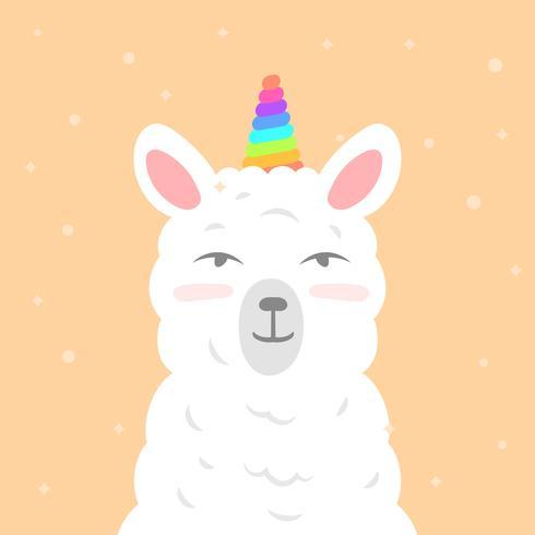 Flat Cute Llama Unicorn Wannabe Vector Clipart Ilustração