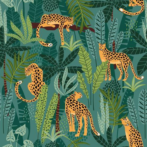 Padrão sem emenda de vestor com leopardos e folhas tropicais. vetor