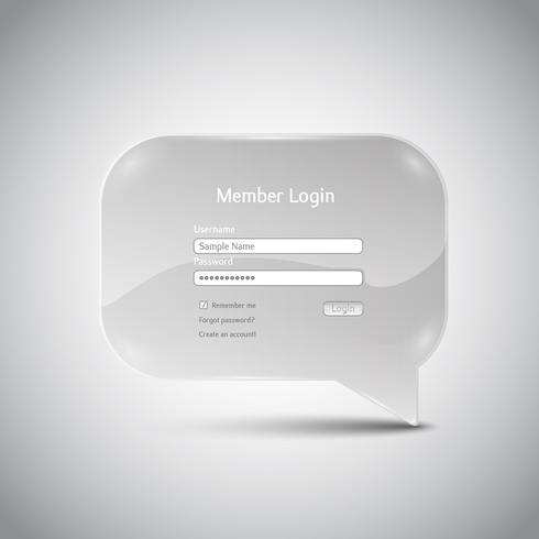 """Interface de """"Login de membro"""" da bolha de fala vetor"""