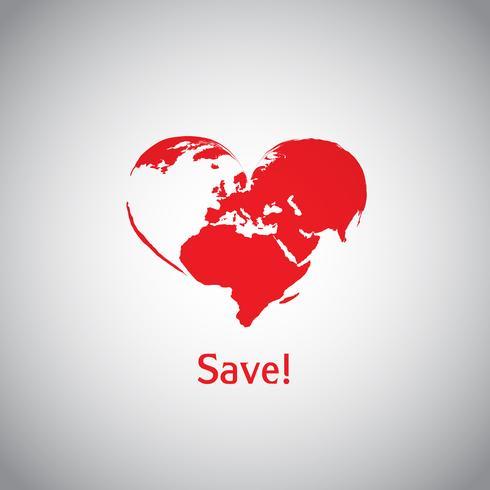 O mundo do coração - salvar! vetor